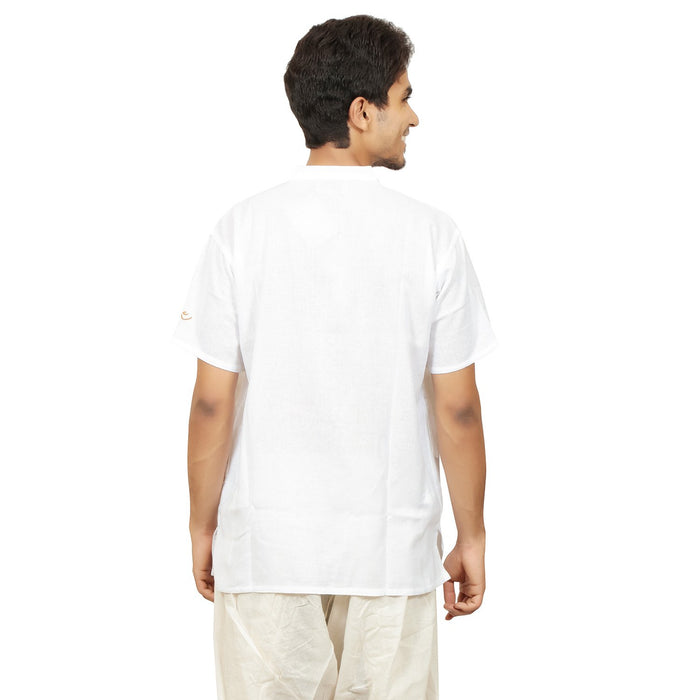 Men Organic Cotton Embroidered Aum Kurta - White