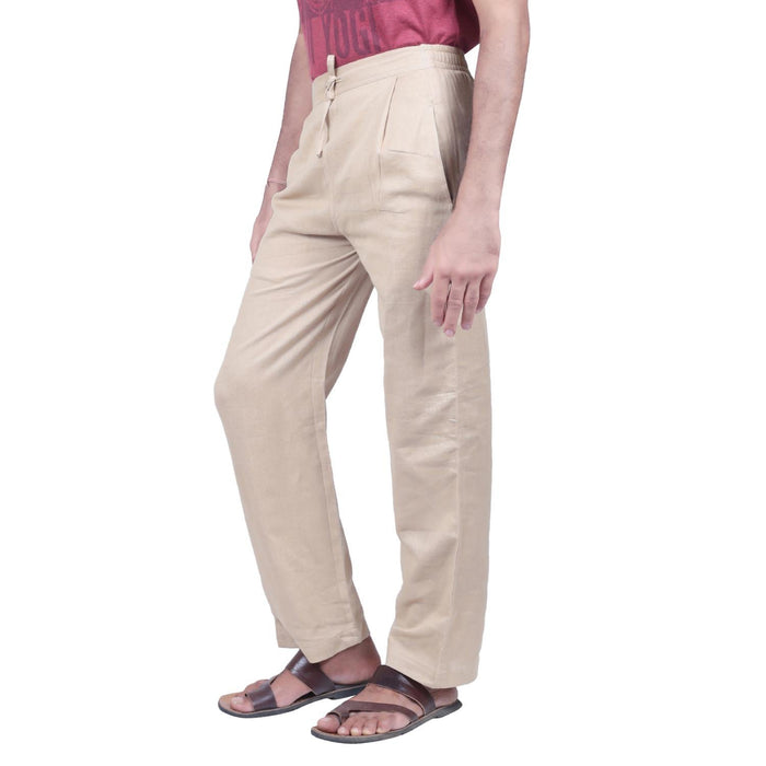 Men Organic Cotton Beige Knitted Drawstring Pants