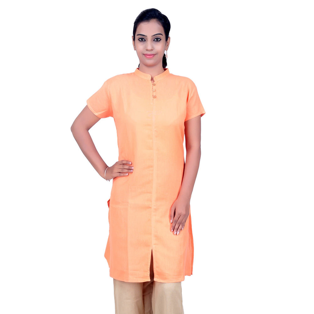 Women Organic Cotton Embroidered Aum Kurta - Coral