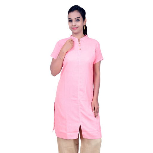 Women Pink Embroidered Aum Kurta - Organic Cotton