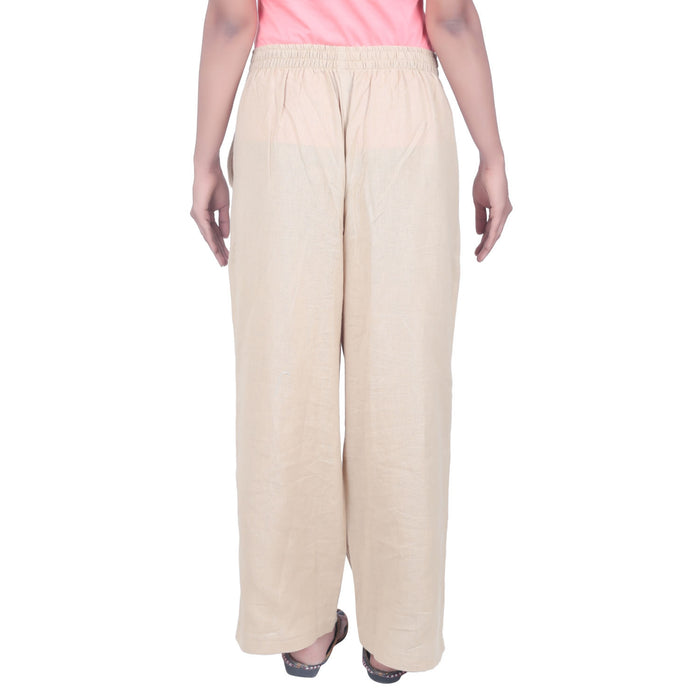Women Organic Cotton Knitted Drawstring Pants - Beige