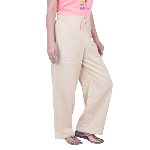 Women Beige Knitted Drawstring Pants - Organic Cotton