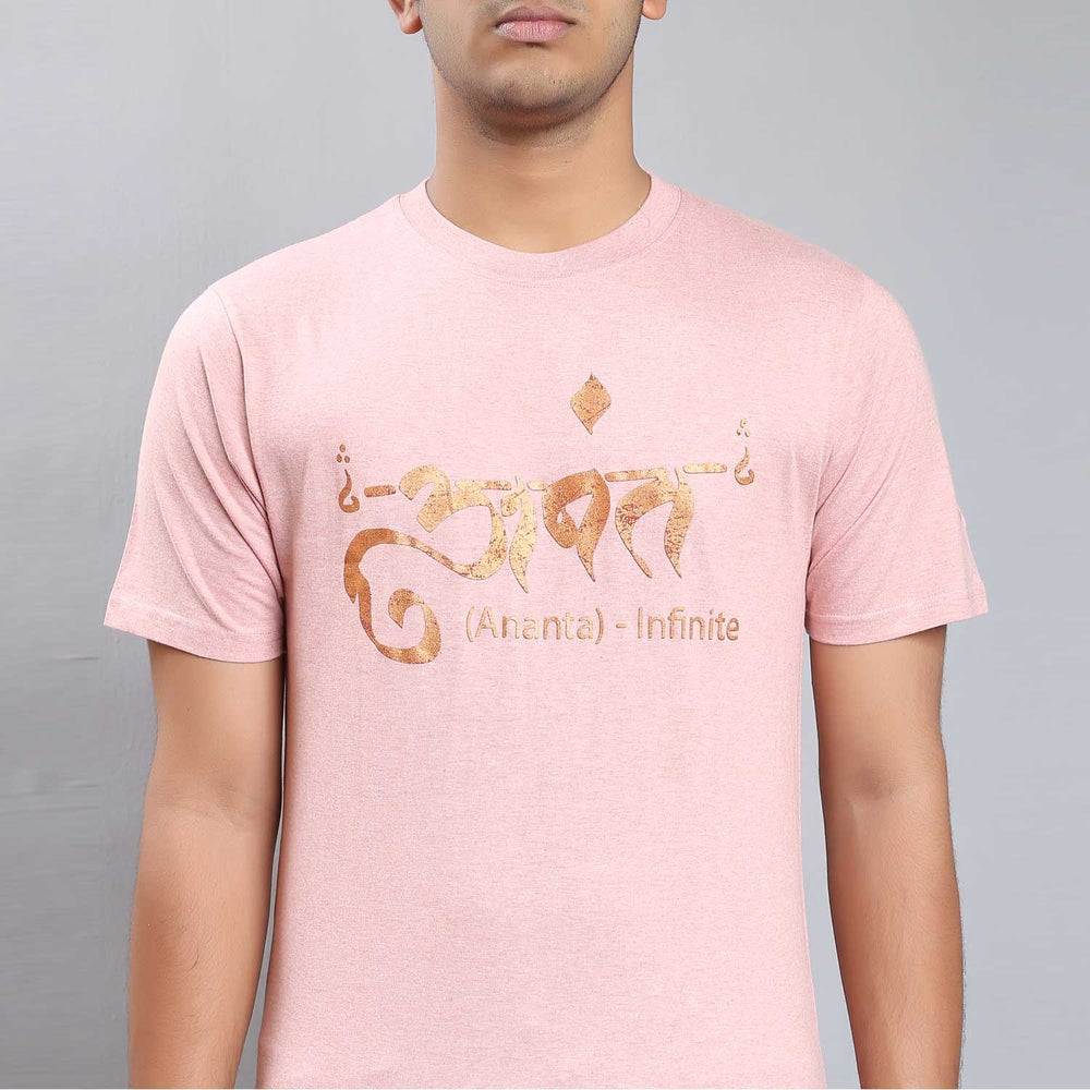 Unisex Peach Cotton Ananta Copper Printed T-Shirt