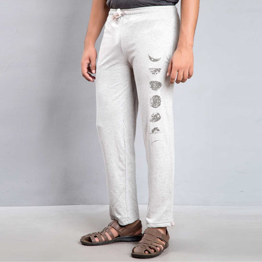 Unisex Moon Printed Track Pants - Light Grey