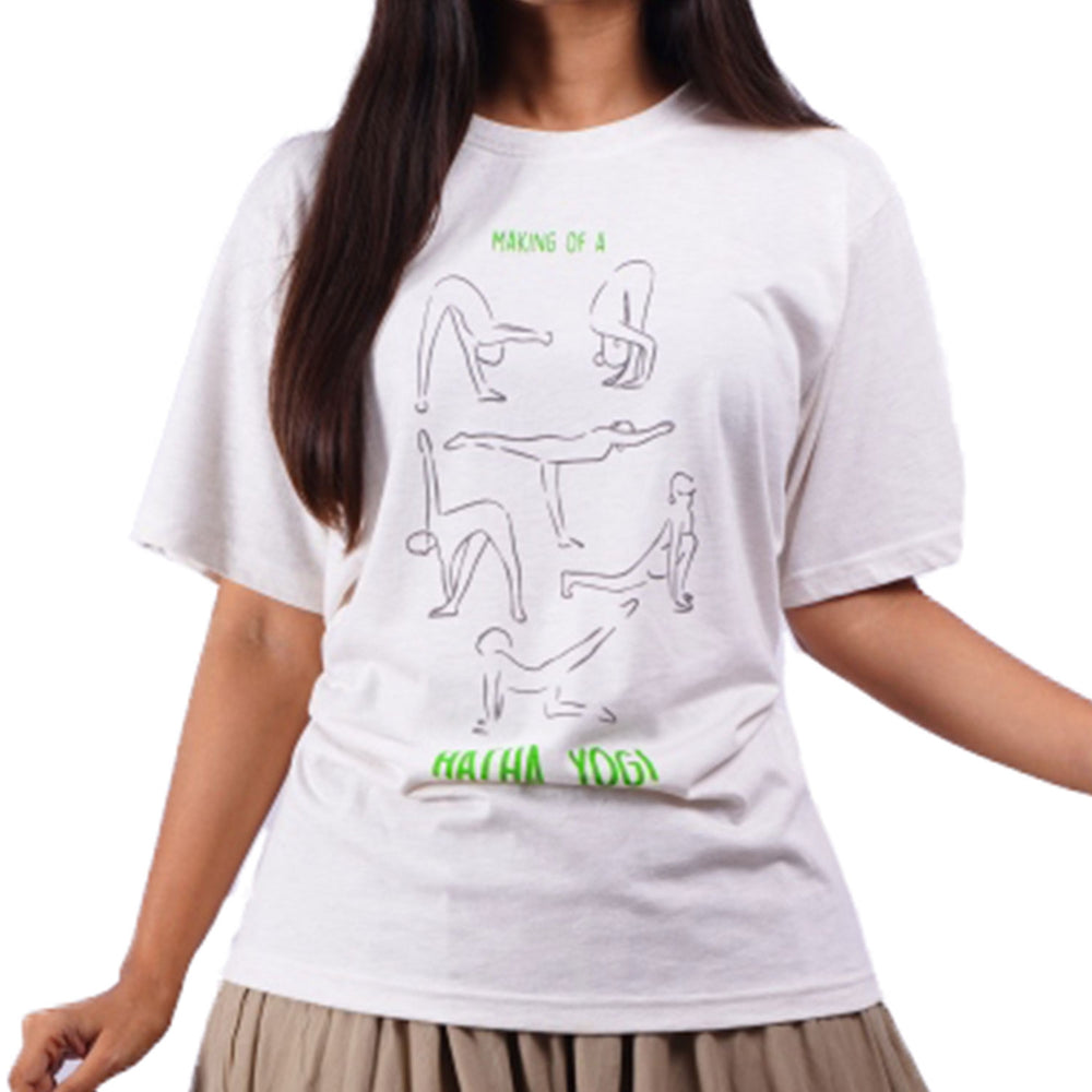 Unisex Cotton Hatha Yoga Printed T-shirt - Ecru