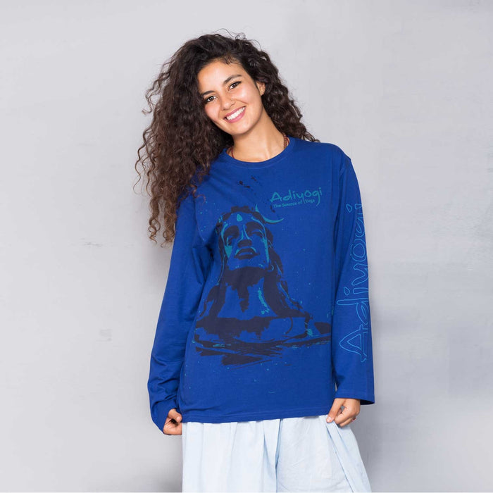 Unisex Blue Adiyogi Printed Full Sleeve T-Shirt