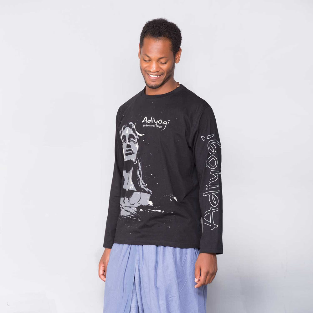 Unisex Black Adiyogi Printed Full Sleeve T-Shirt