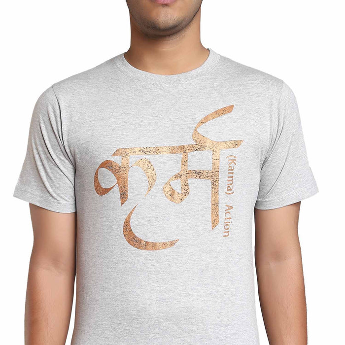 Unisex Cotton Karma Copper Printed T-shirt - Grey