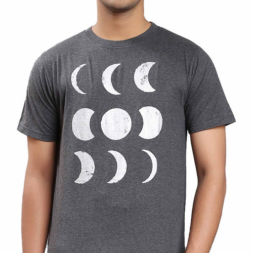 Unisex Cotton Moon Silver Printed T-shirt - Dark Grey
