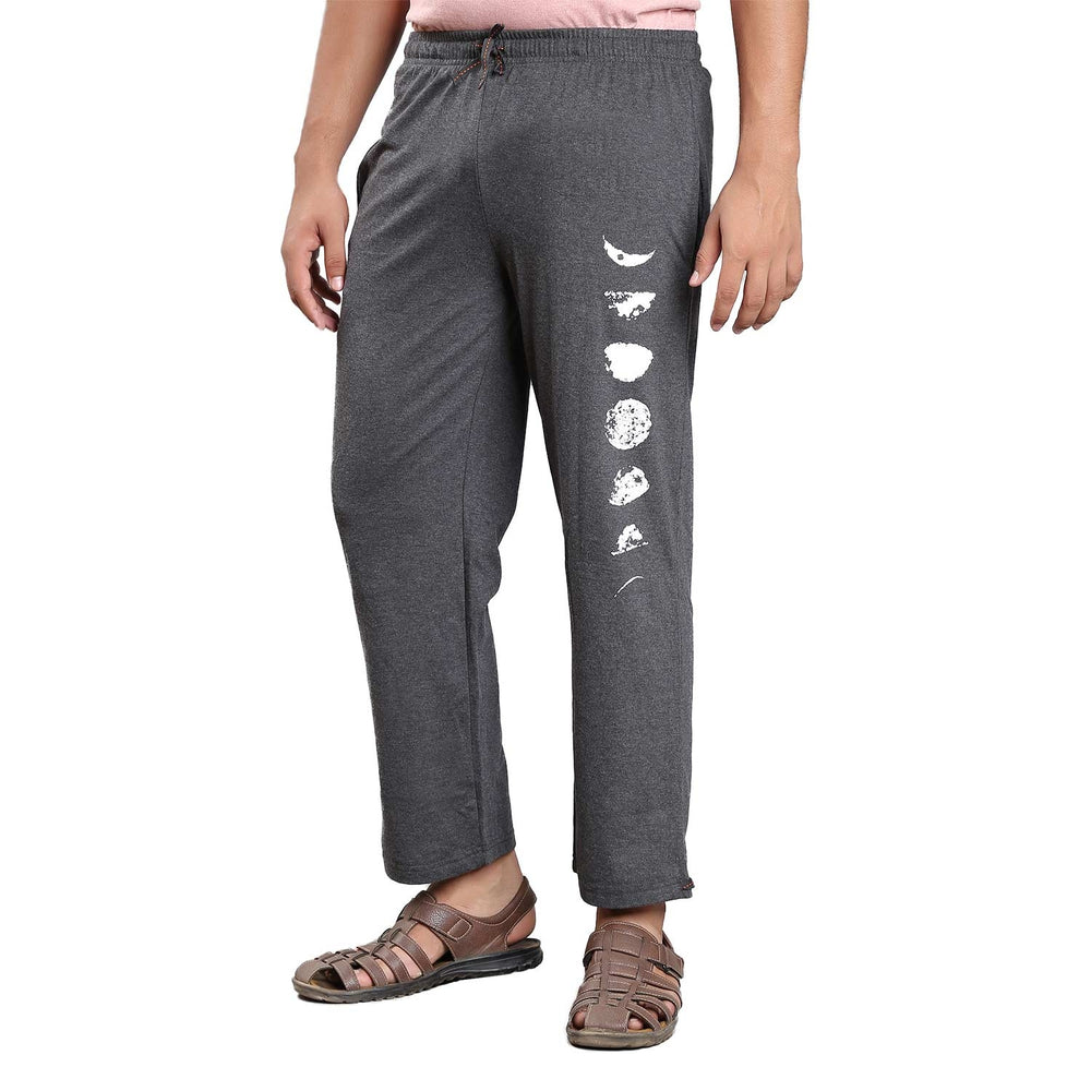 Unisex  Moon Printed Track Pants - Dark Grey