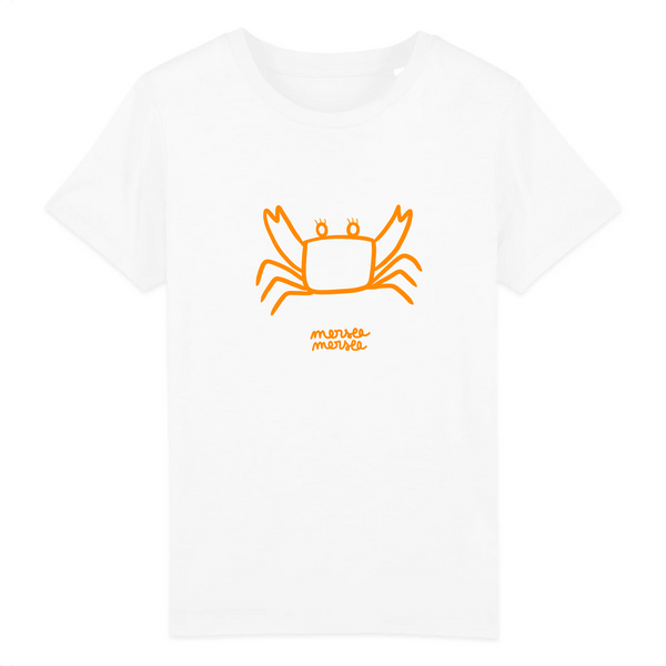 t-shirt enfant crabe orange coton bio