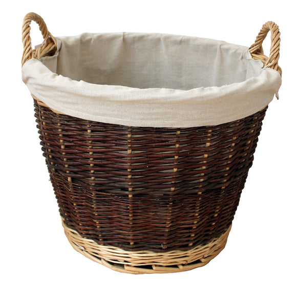 Lge Rnd Wicker Basket With Jute Liner  - (9965)