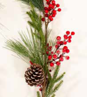 6ft / 180cm Red Berry and Pine Cone Christmas Garland