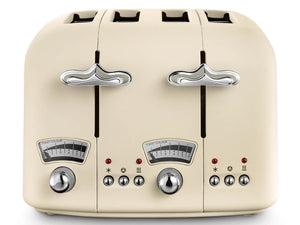 DeLonghi Argento Floral Toaster Cream
