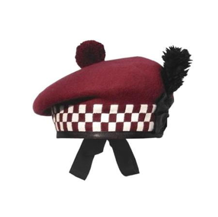 1211-Balmoral Caps Maroon White/Maroon Dicing- - House Of Scotland