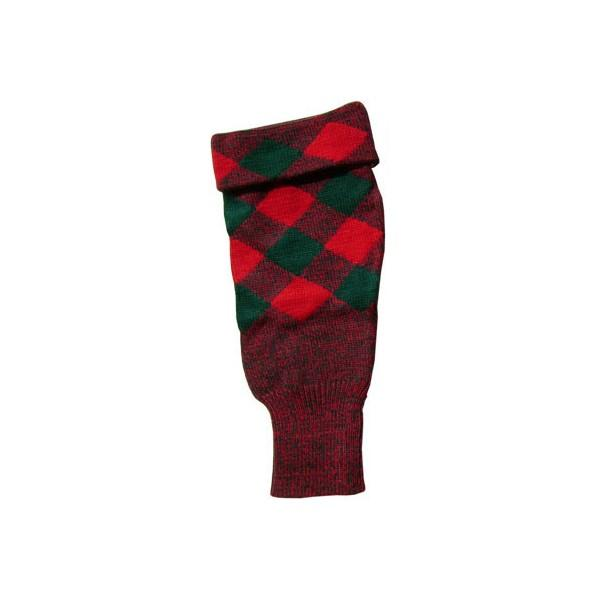 Acrylic Wool Scottish Hose Top Diced Red And Green