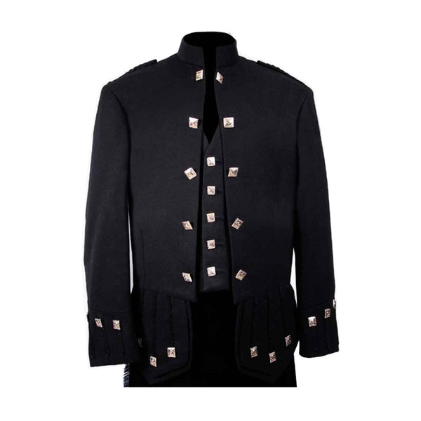 Sheriffmuir Doublet Black Blazer Wool With Vest - House Of Scotland