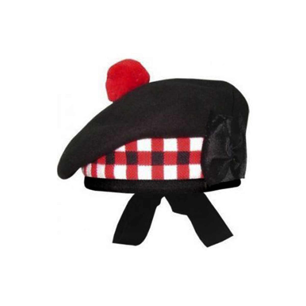 Black Balmoral Cap Red Black White Diced