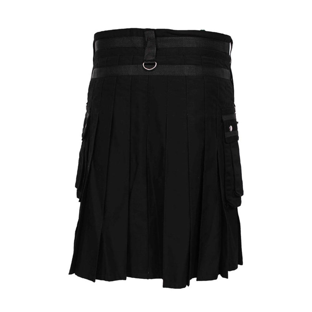 house-of-scotland-black-deluxe-utility-kilt-heavy-cotton-with-chain-back