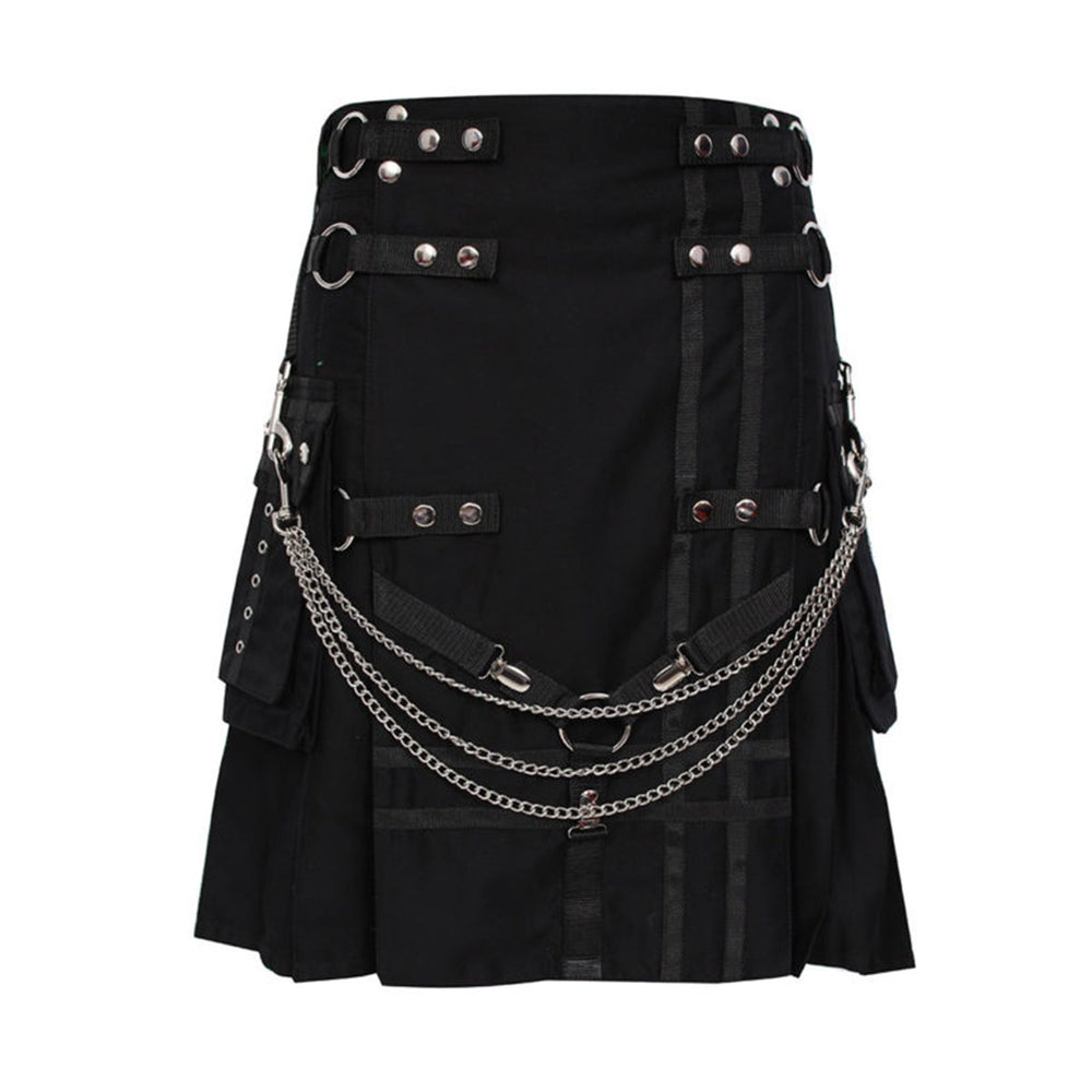 Black Deluxe Utility Kilt Heavy Cotton With Chain