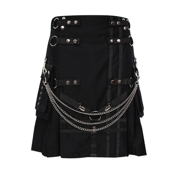house-of-scotland-black-deluxe-utility-kilt-heavy-cotton-with-chain
