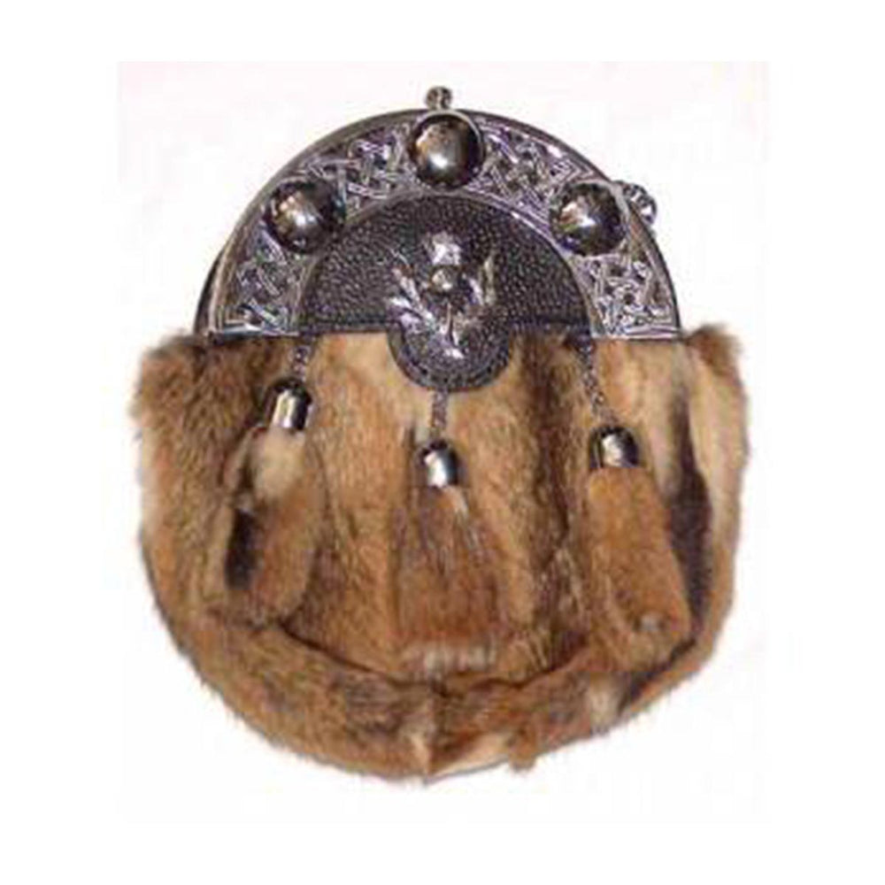Black or Brown Grained Leather Celtic Sporran Rabbit Fur Thistle badge