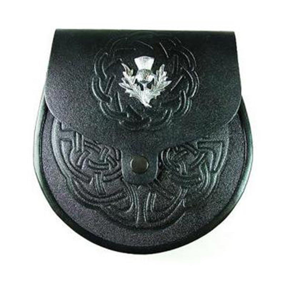 Black or Brown Grained Leather Sporran Embossed Front With Thistle Badge