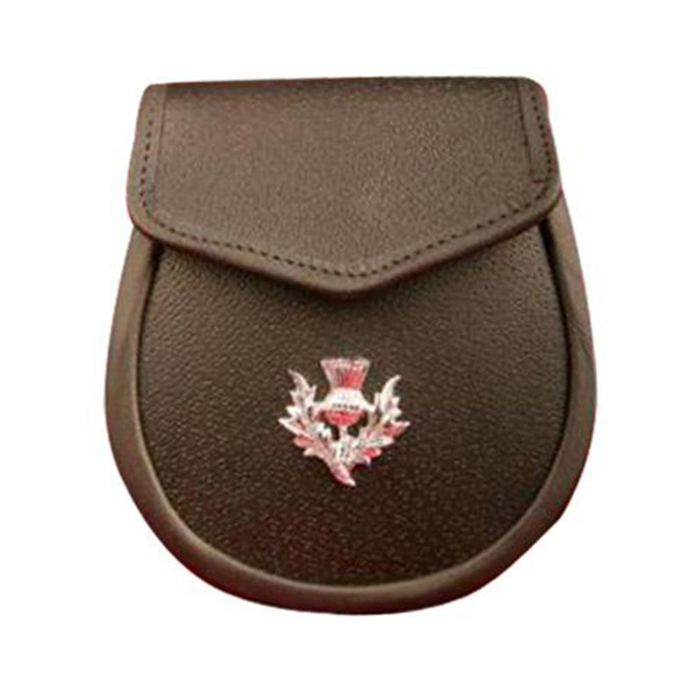 Black or Brown Grained Leather Sporran With Thistle Flower Badge