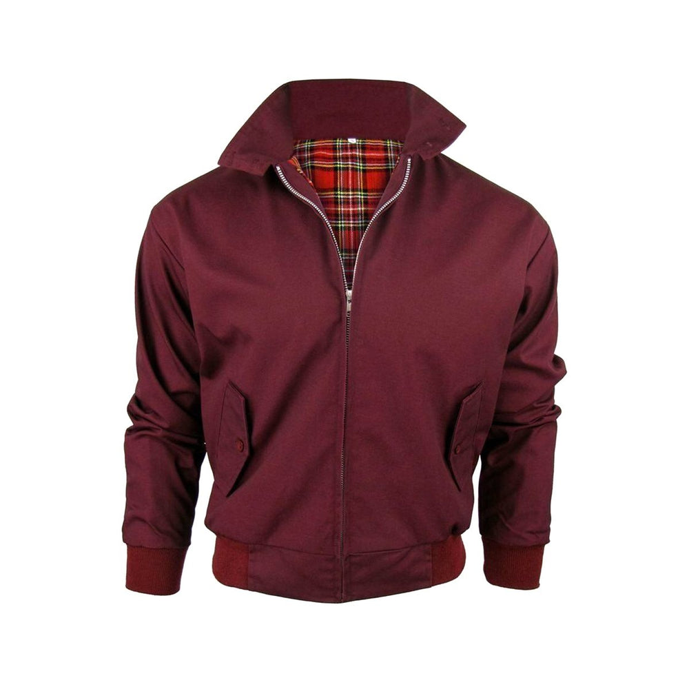 Classic Vintage Retro Harrington Bomber Jacket Burgundy