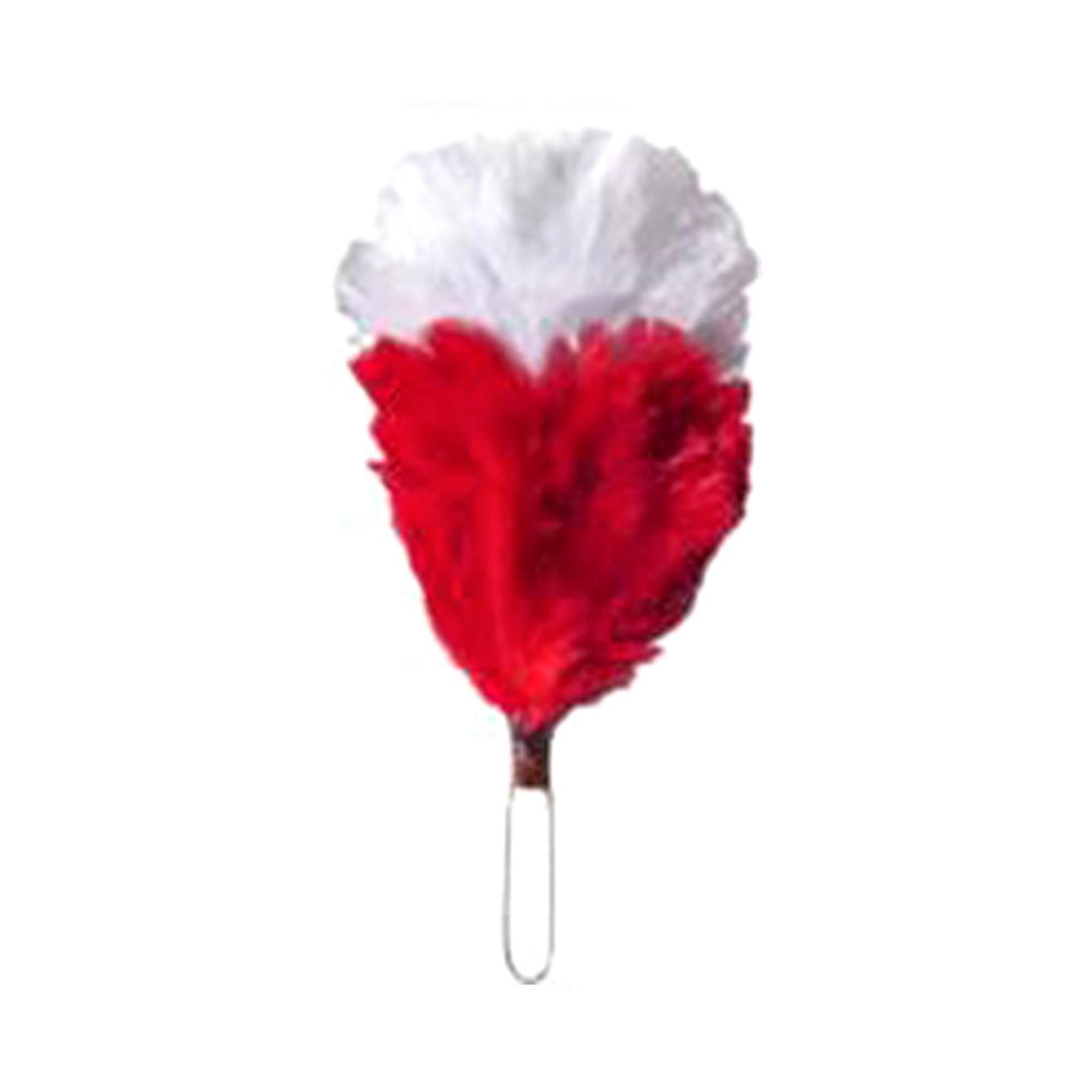 Feather Hackle White Red 4 Inches