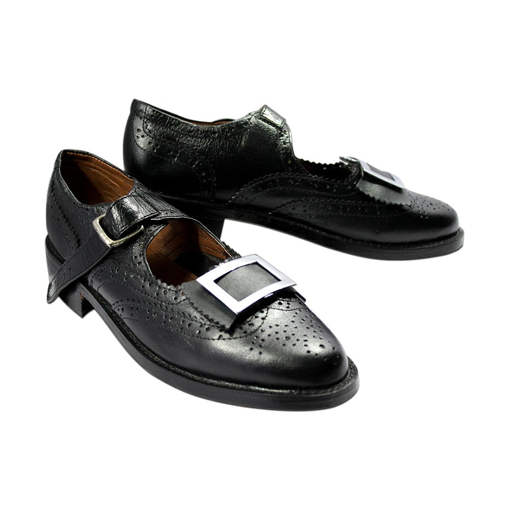 Scottish Ghillie Brogue Shoes Genuine or Patent Leather With Buckles