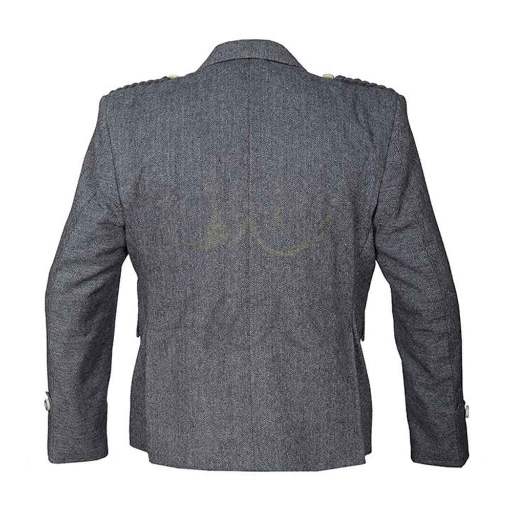 Grey Tweed Argyll Jacket And Vest Pure Wool - House Of Scotland