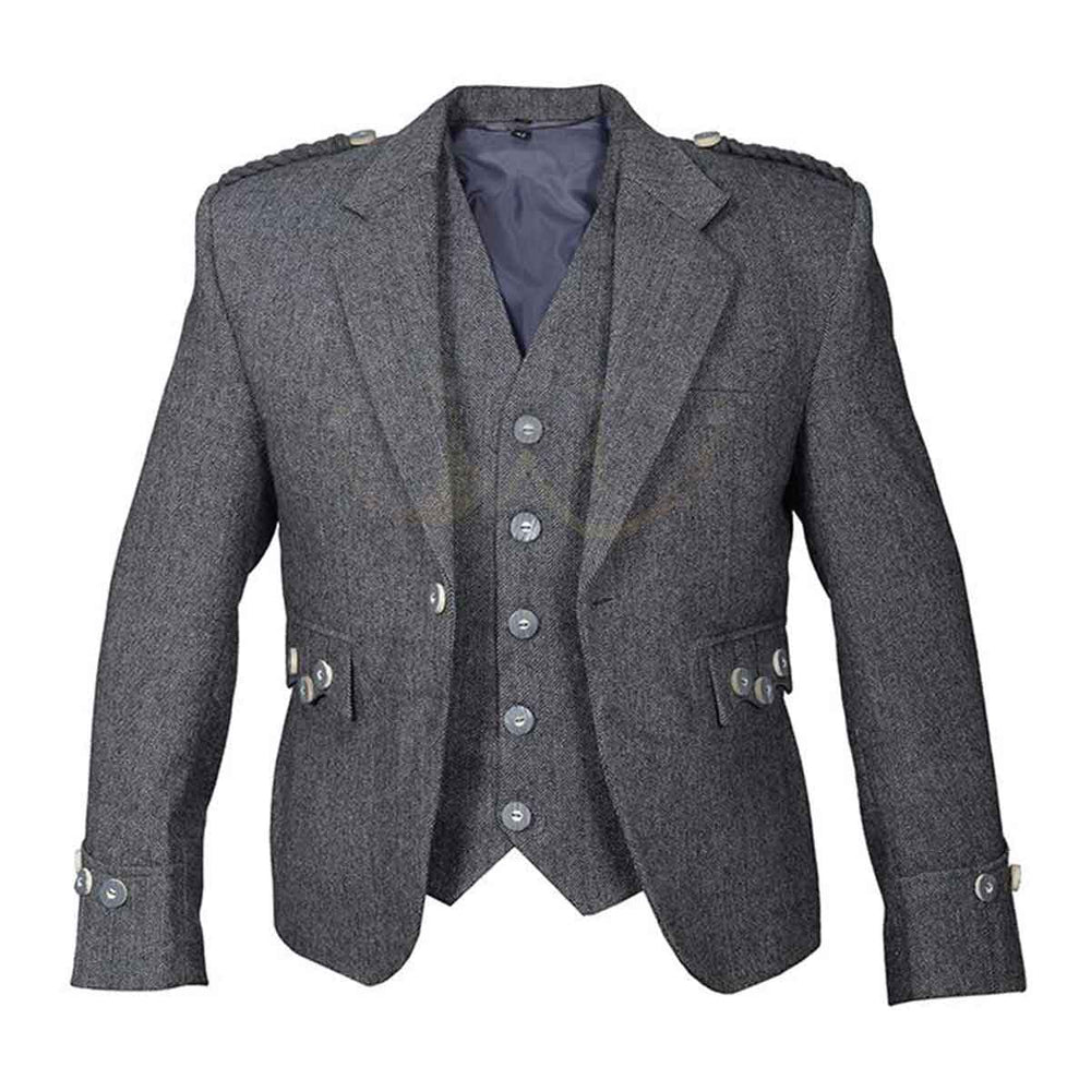 Grey Tweed Argyll Jacket And Vest Pure Wool