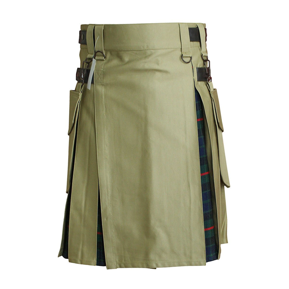 Heavy Cotton Hybrid Kilt Khaki Color With Tartan