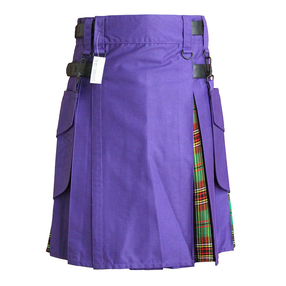 Heavy Cotton Hybrid Kilt Purple Color With Tartan