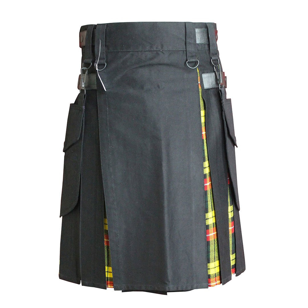 Heavy Cotton Hybrid Kilt Black Color With Tartan