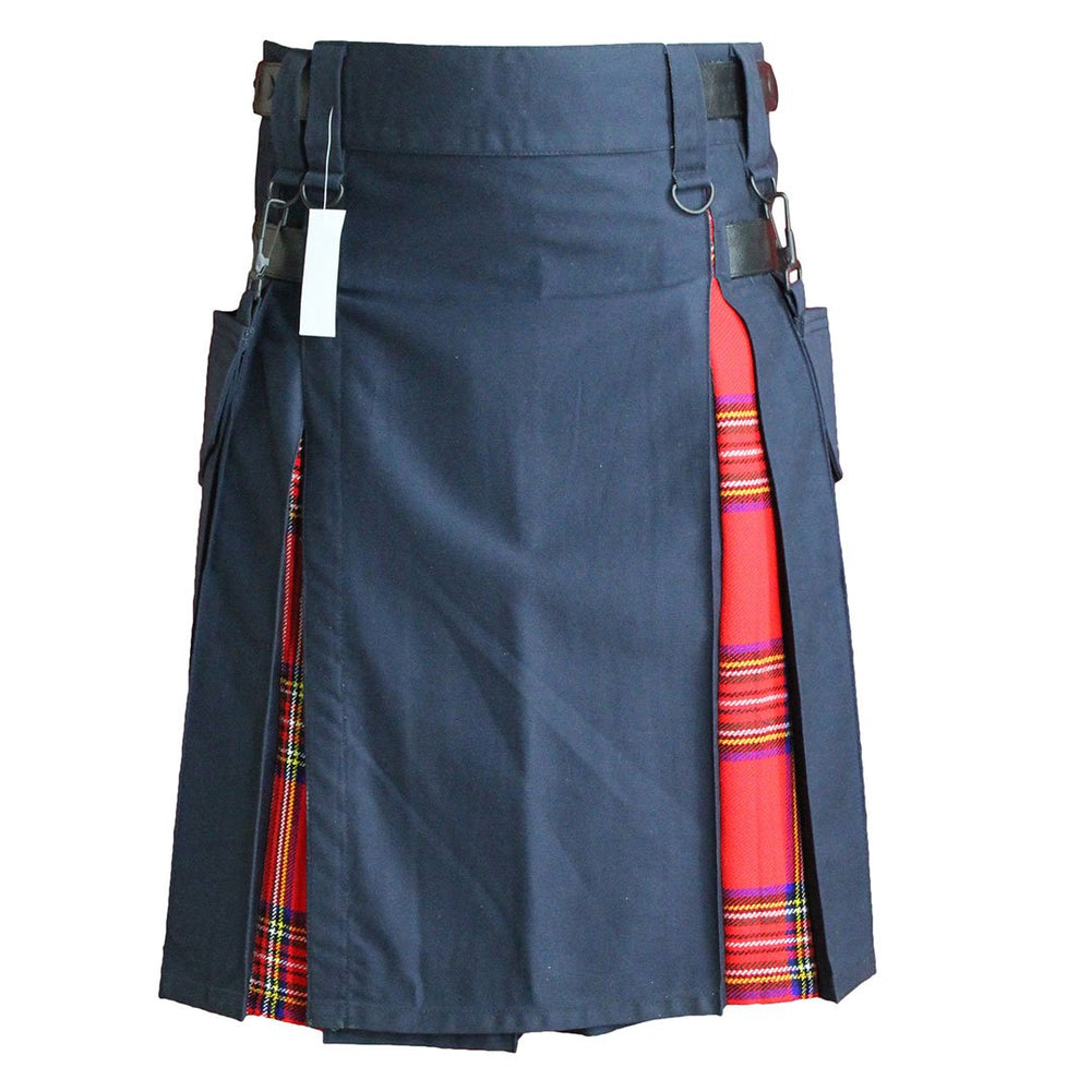 Heavy Cotton Hybrid Kilt Navy Blue Color With Tartan