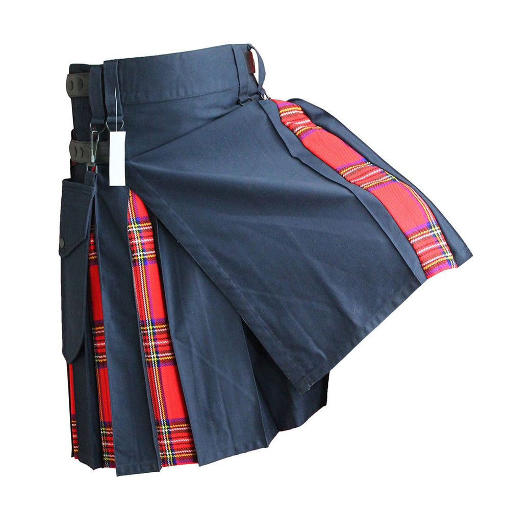 house-of-scotland-heavy-cotton-hybrid-kilt-navy-blue-color-with-royal-stewart-tartan