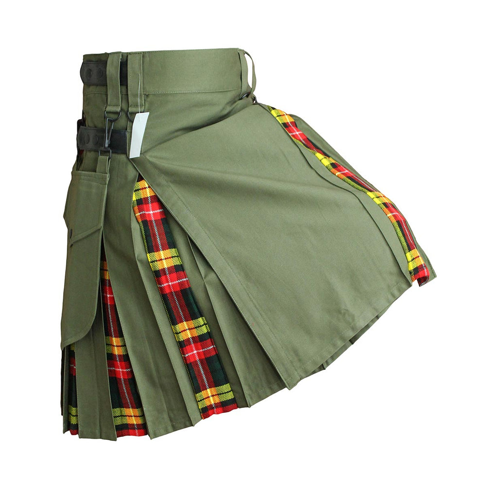 house-of-scotland-heavy-cotton-hybrid-kilt-olive-green-color-with-buchanan-tartan