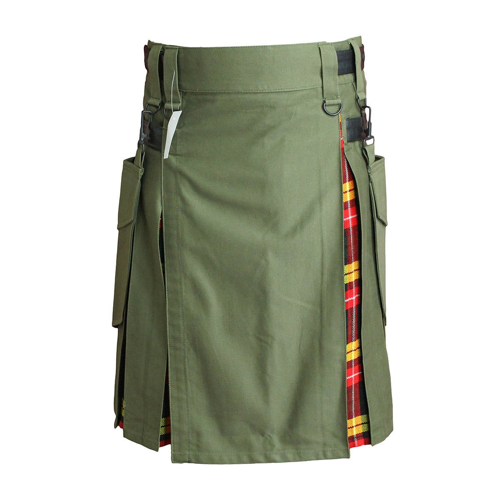 Heavy Cotton Hybrid Kilt Olive Green Color With Tartan