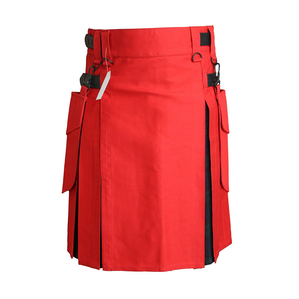 Heavy Cotton Hybrid Kilt Red Color With Tartan