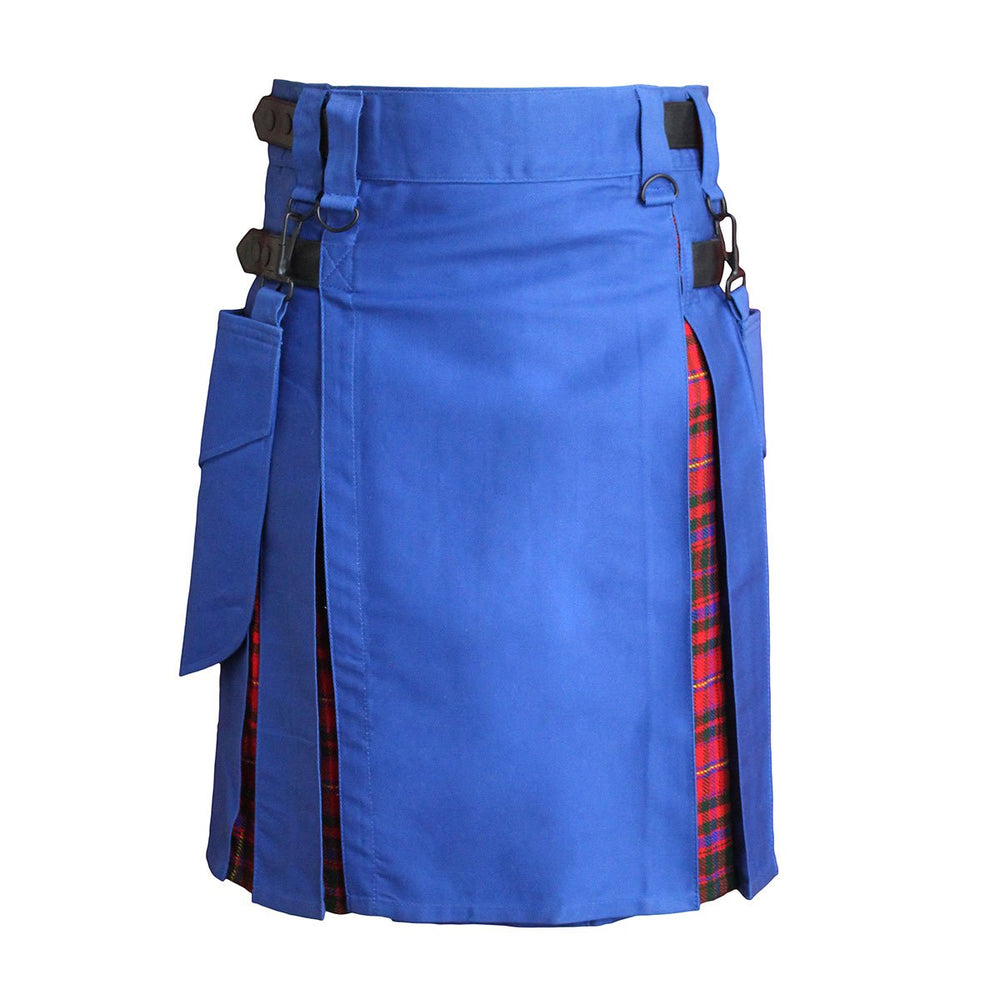Heavy Cotton Hybrid Kilt Royal Blue Color With Tartan