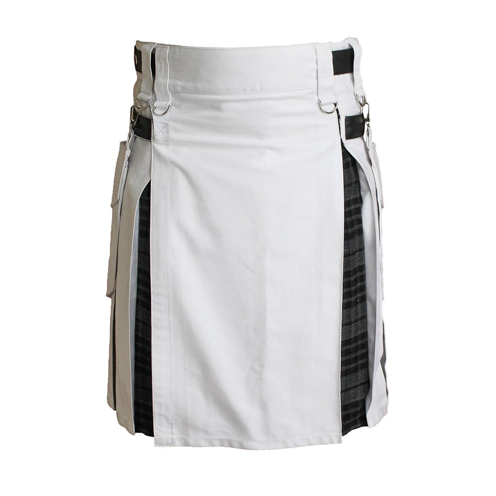 Heavy Cotton Hybrid Kilt White Color With Tartan
