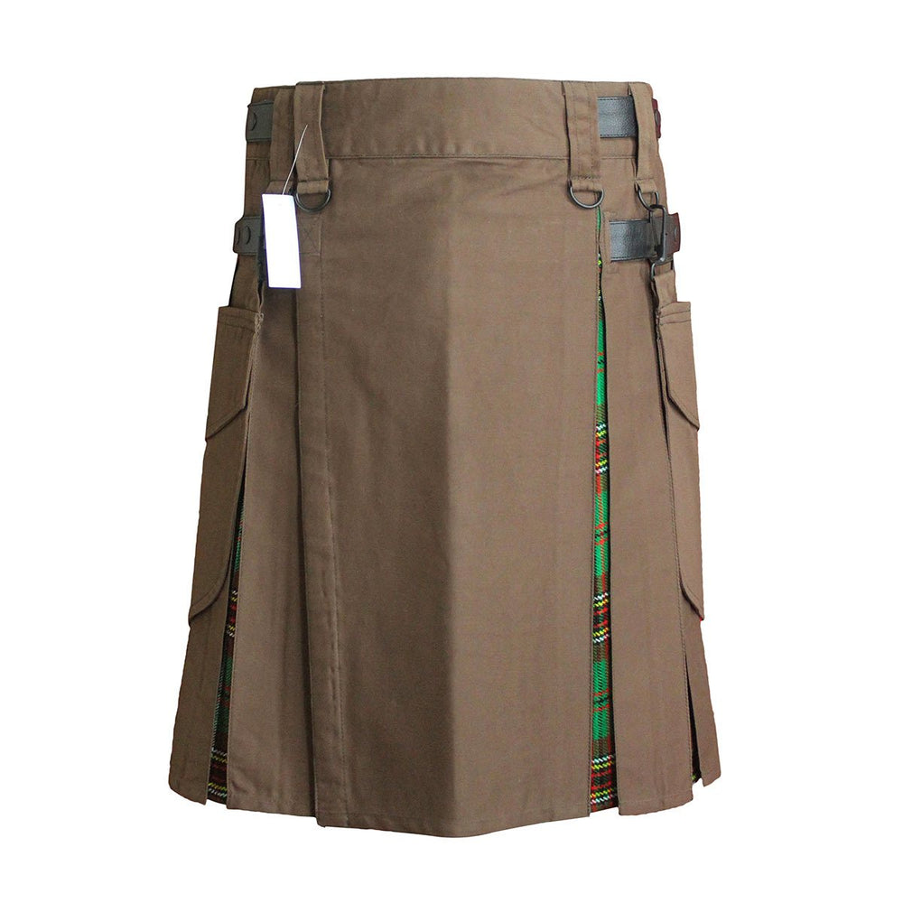 Heavy Cotton Hybrid Kilt Brown Color With Tartan