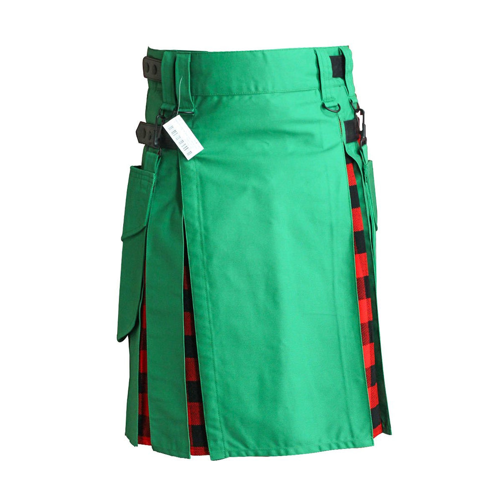 Heavy Cotton Hybrid Kilt Green Color With Tartan