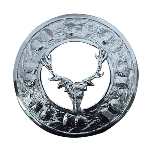 Irish Stag Head Plaid Brooch - House Of Scotland
