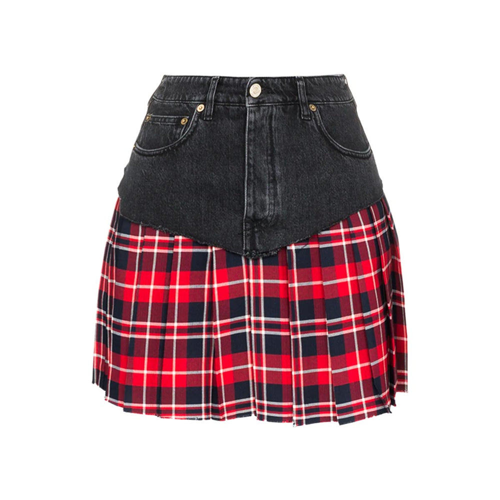 Ladies Denim And Tartan Kilt or Skirt