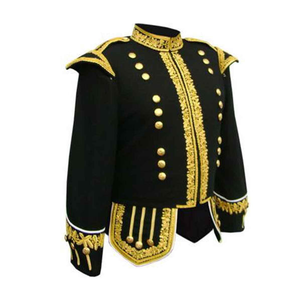 Machine Embroidered Piper or Drummer Doublet Gold Bullion - House Of Scotland