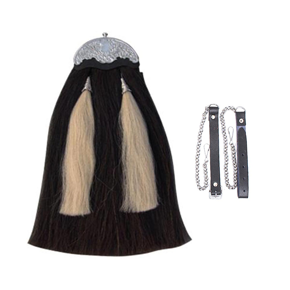 Original Horse Hair Sporran Black Body With Two White Tassels