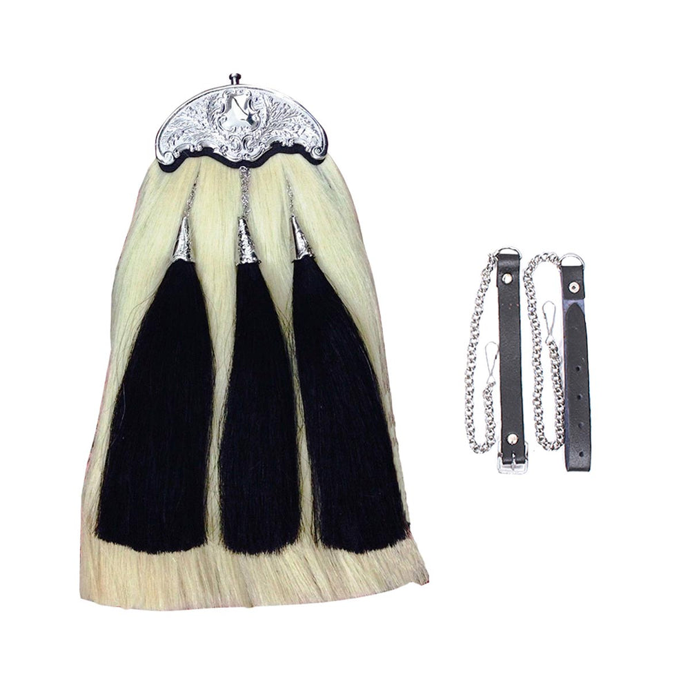 Original Horse Hairs Sporran White Body Three Black Tassels